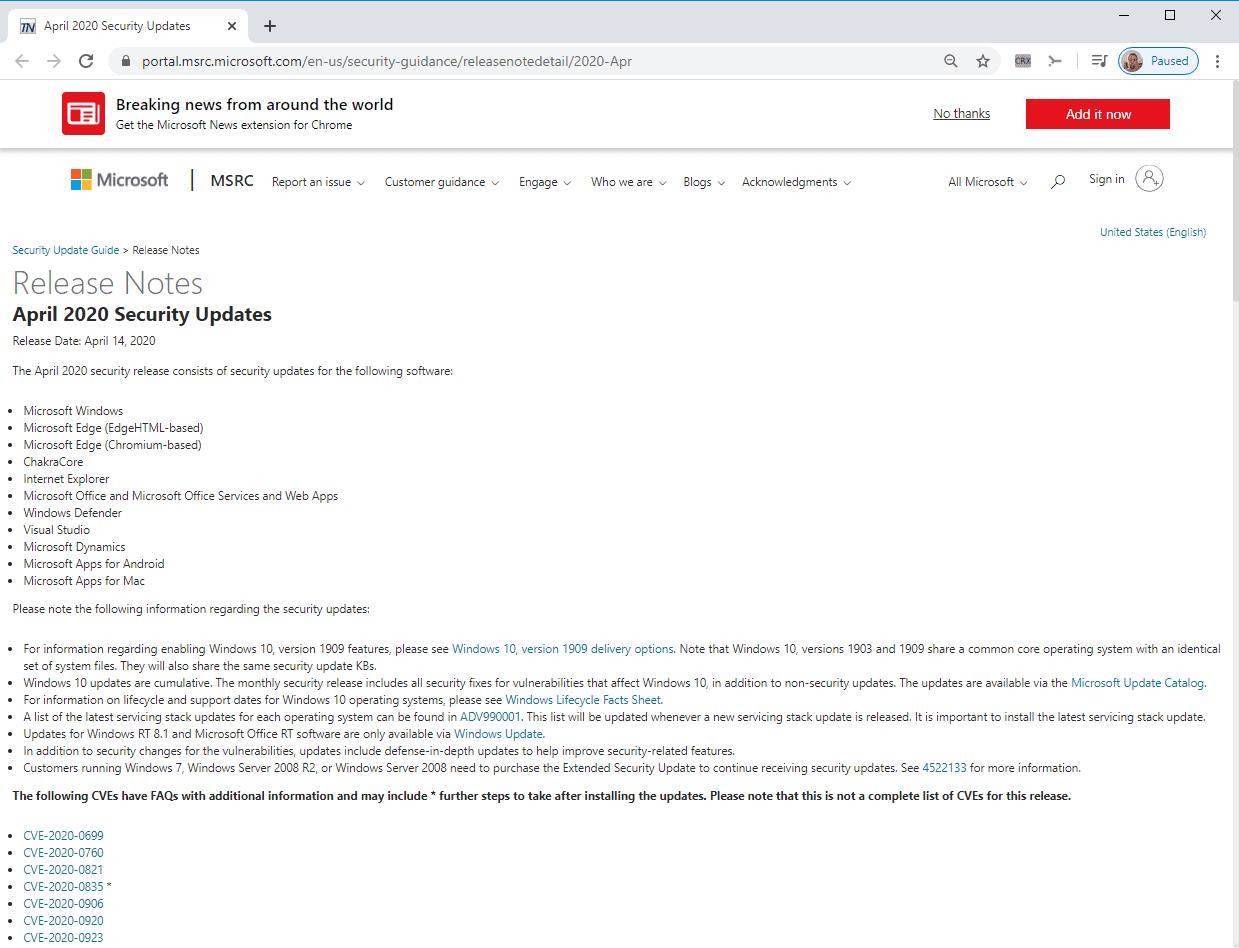 microsoft windows-actualizaciones de seguridad abril 2020