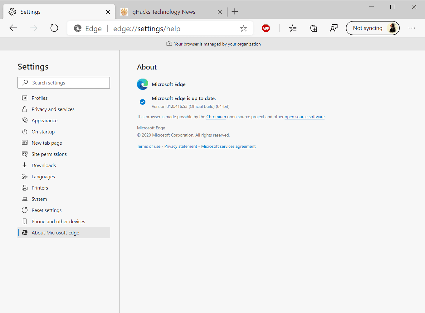 Microsoft Edge 81.0.416.53 Stable out with many changes