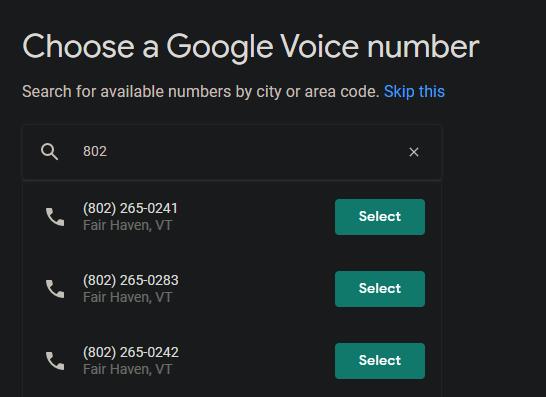 Ejemplos de números de Google Voice