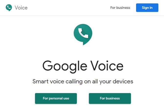 Página de inicio de Google Voice