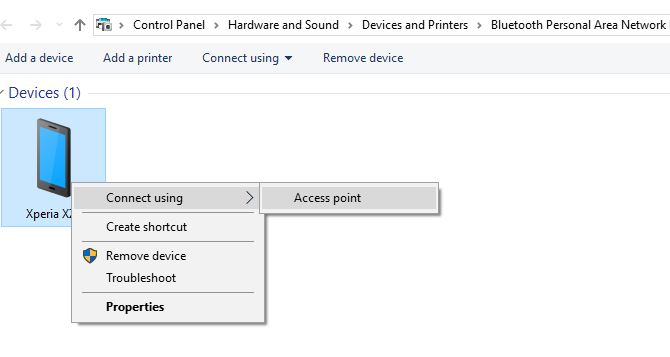 Conéctese a un punto de acceso de conexión de Android a través de Bluetooth en Windows 10