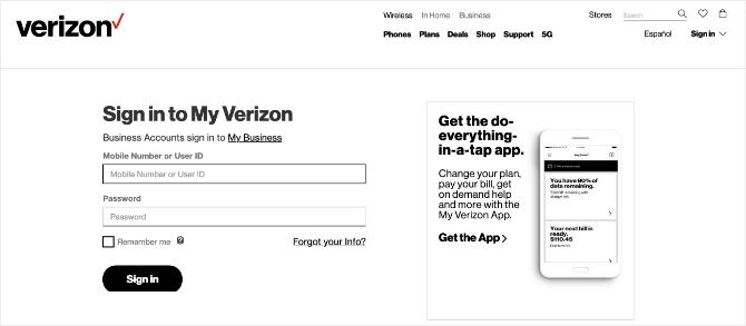 Banner de la página de inicio de Verizon