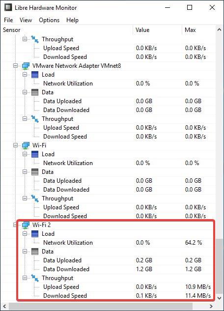 Libre Hardware Monitor adaptadores de red