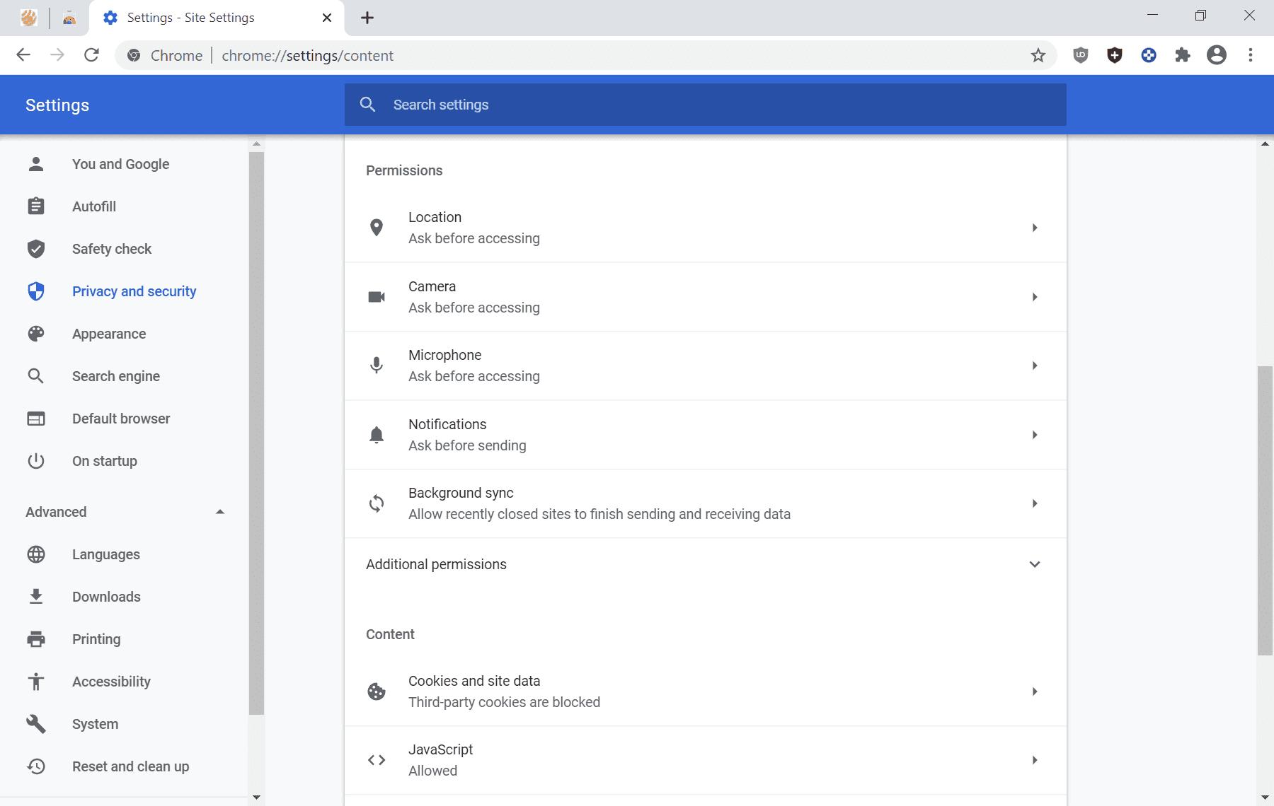 cchrome 83 configuración del sitio