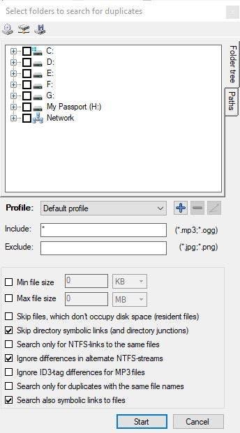 Buscador de archivos duplicados y de los mismos - Iniciar la búsqueda