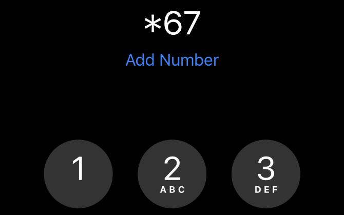 *67 de iPhone Teclado del teléfono
