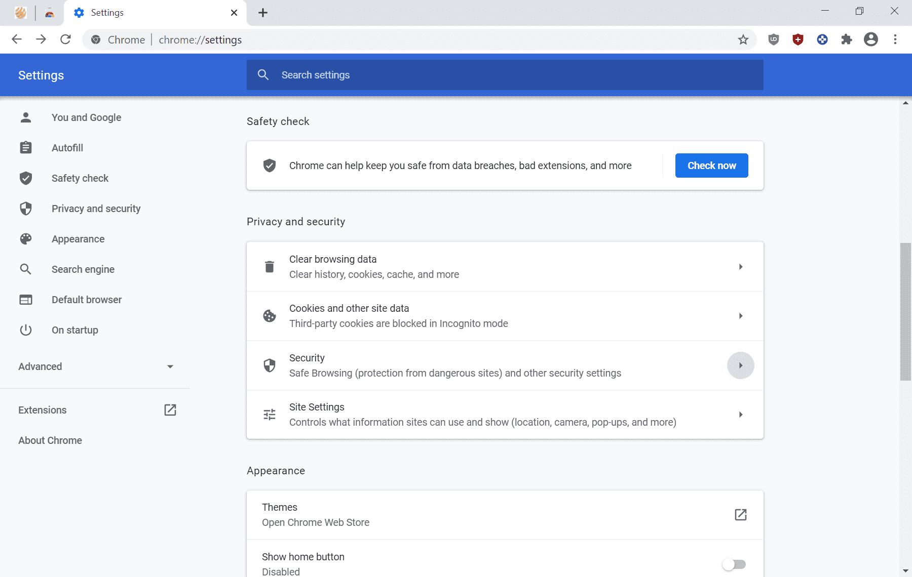 cromado 83 configuración de privacidad