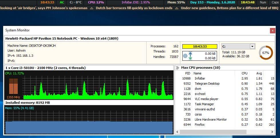 Monitor del sistema MiTec InfoBar