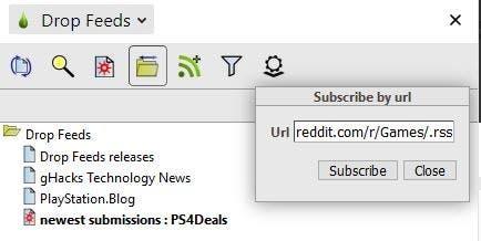 Drop Feeds suscribirse por URL