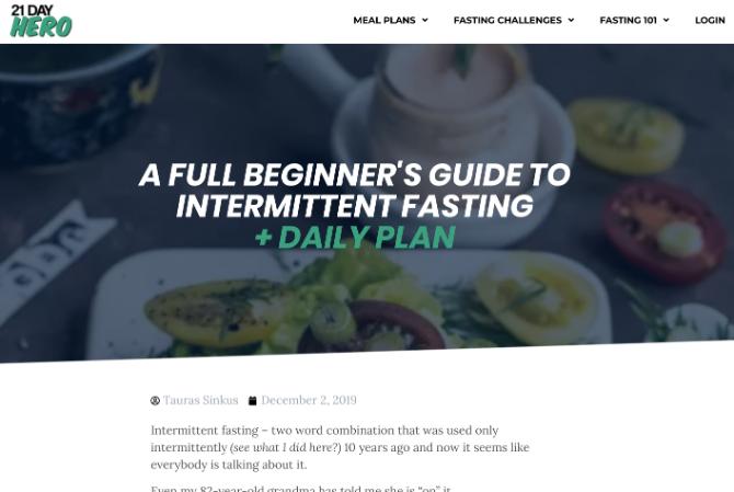 La guía para principiantes de 21 Day Hero sobre el ayuno intermitente es la mejor introducción y conjunto de pautas para la libre