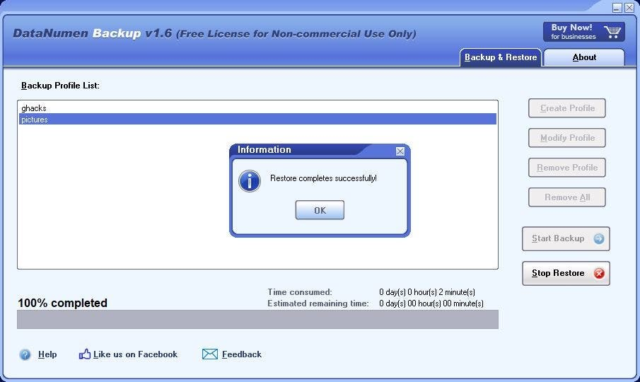 DataNumen Backup restaurar 4