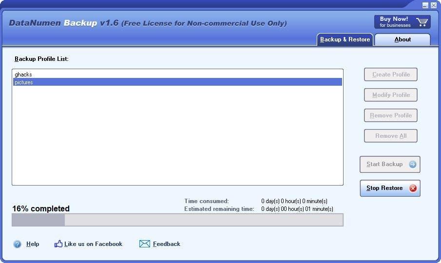 DataNumen Backup restaurar 3