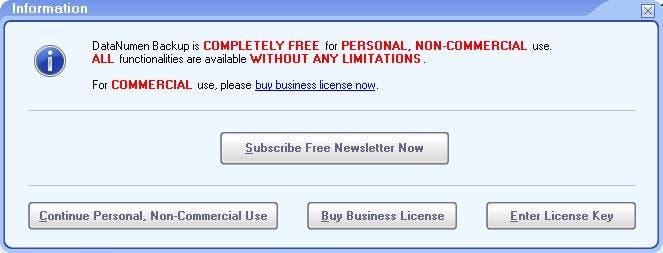 Licencia de DataNumen Backup