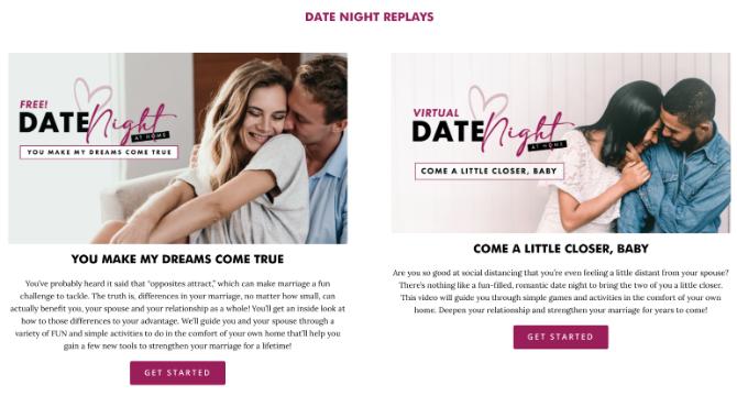 First Things First ofrece guías gratuitas sobre noches de citas virtuales así como noches de citas DIY