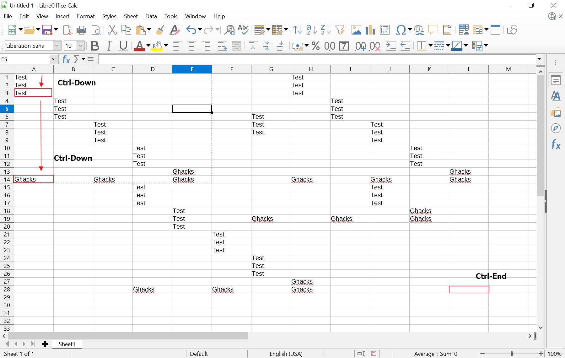 hoja de cálculo Excel salta a la última fila con datos