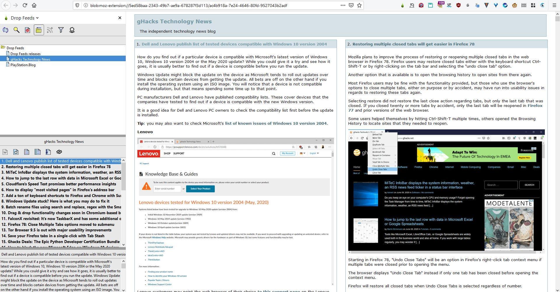 Drop Feeds es una extensión del lector RSS para Firefox