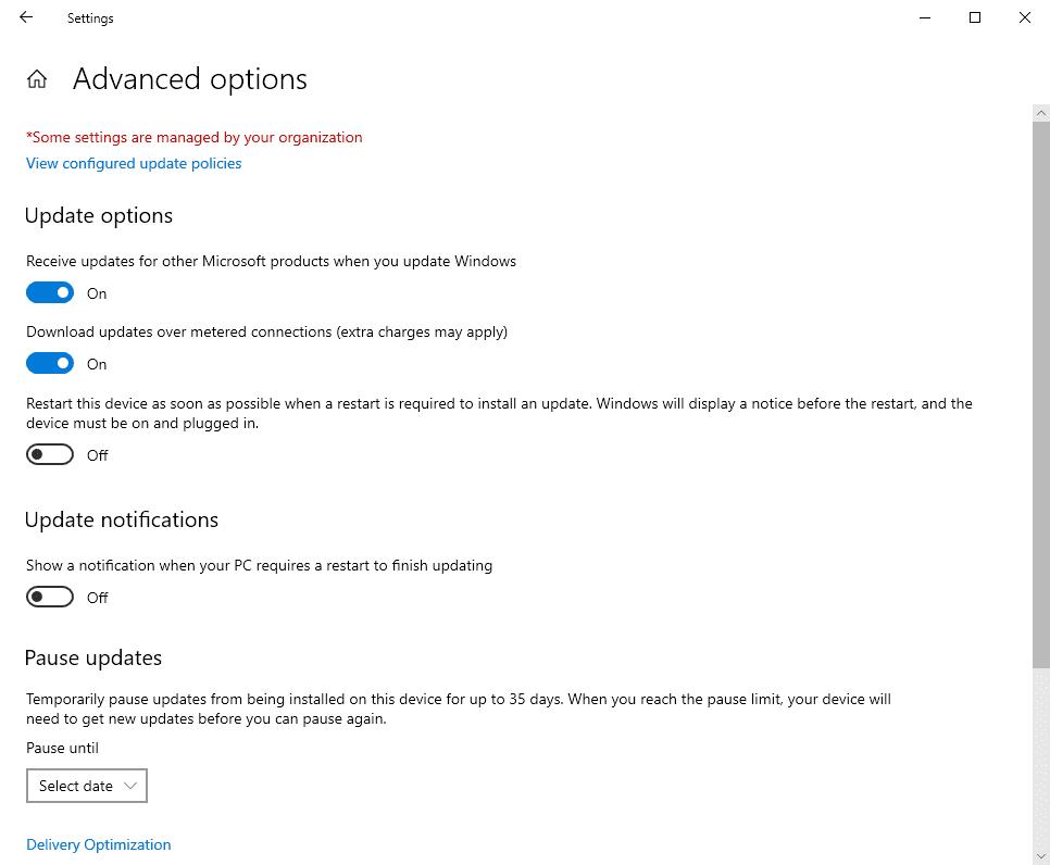 windows-10 2004 no hay actualizaciones diferidas