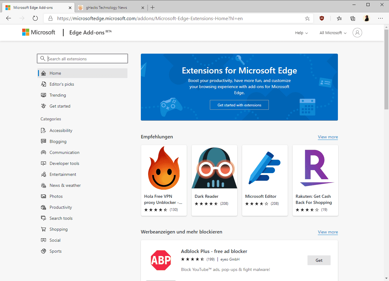 Microsoft launches the new Microsoft Edge Add-ons Store officially