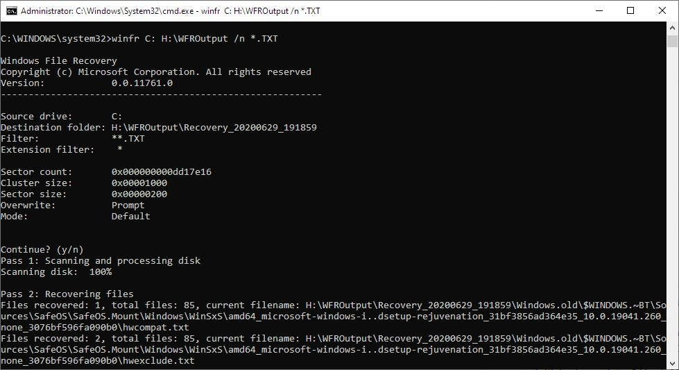 Ejemplo de recuperación de archivos de Windows