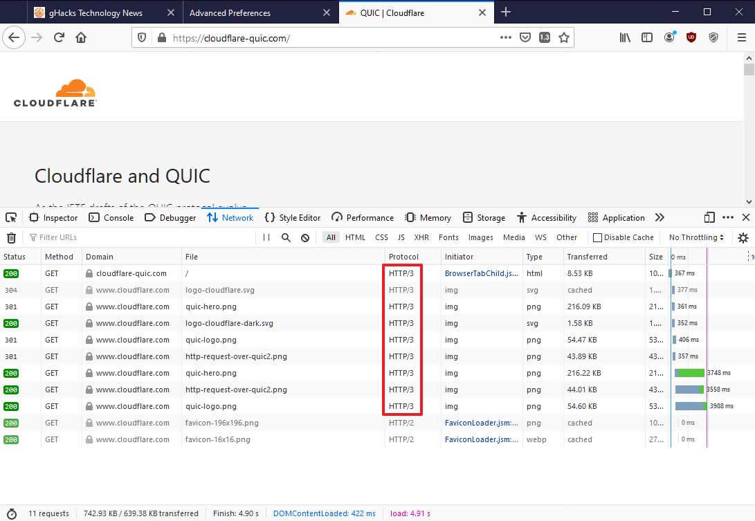 prueba http3 firefox