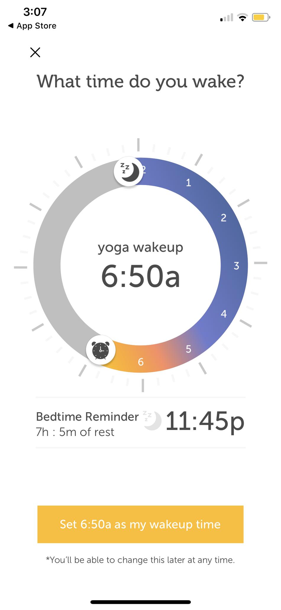 Puedes personalizar a qué hora te levantas y te acuestas.