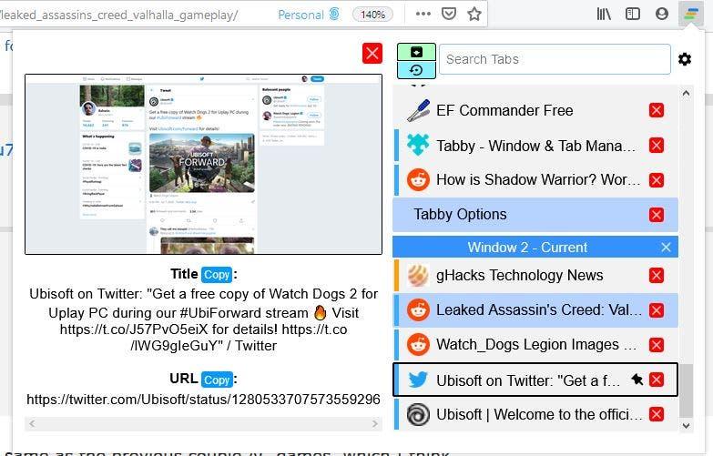 Vista previa del tabby tab
