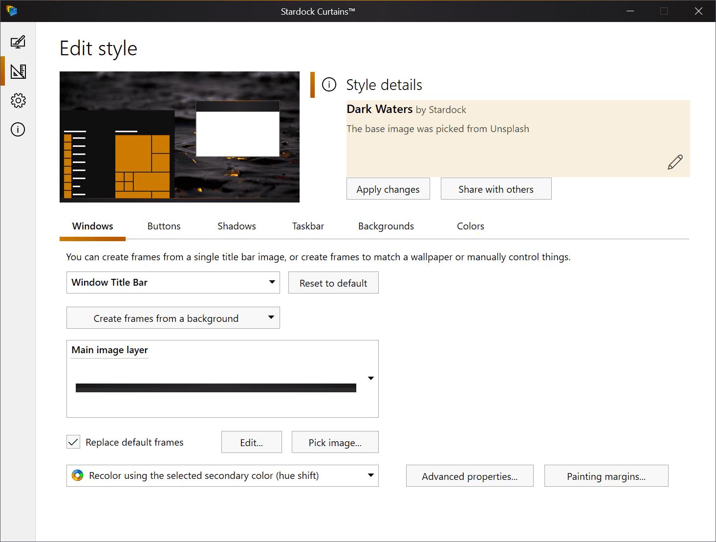 editar las cortinas de estilo