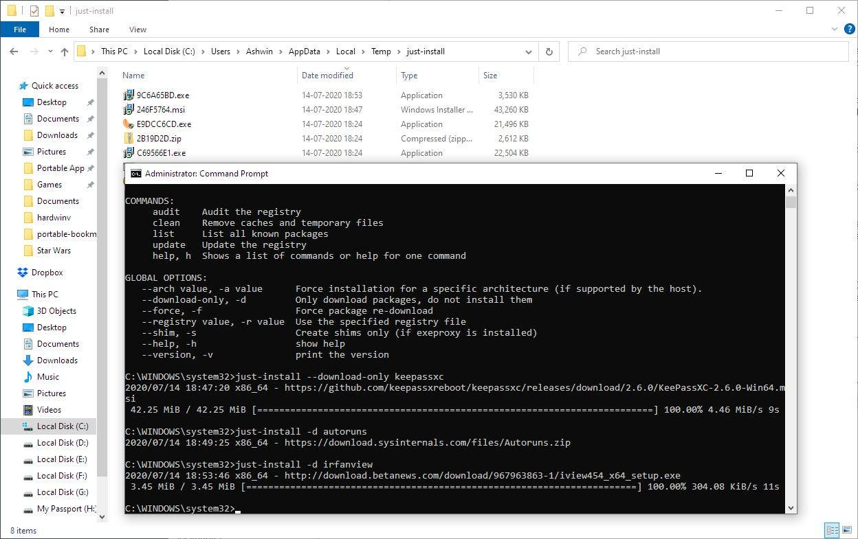 Download and install programs with a single command with just-install