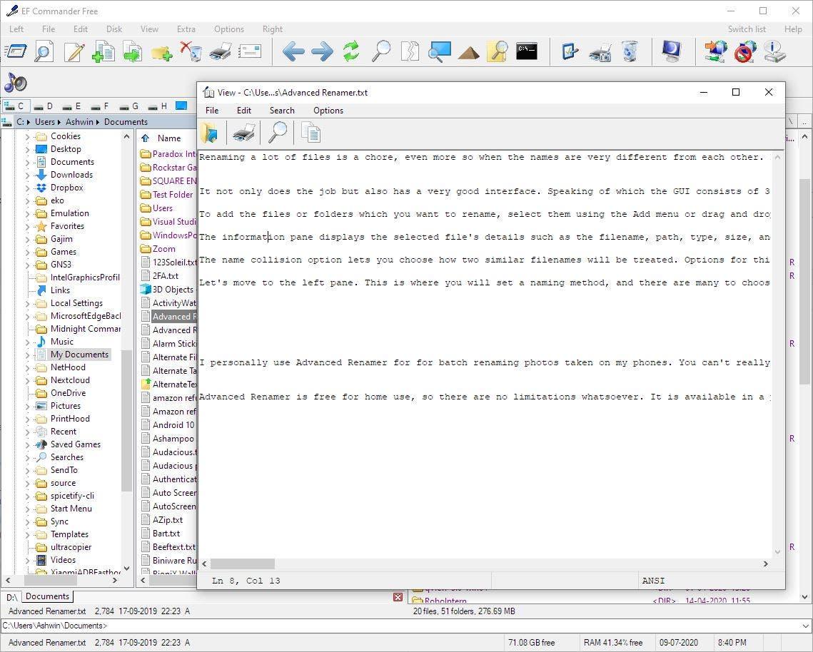 EF Commander Editor de visores de archivos gratuitos