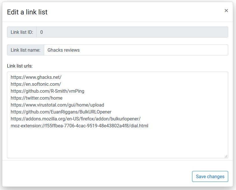El abridor de URL masivo edita una lista