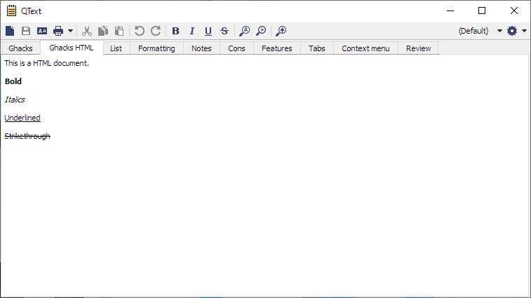 Nota HTML de QText