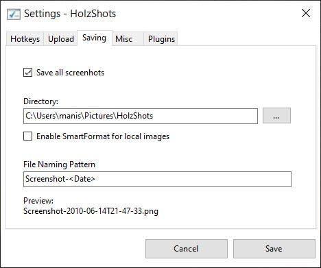Ajustes de HolzShots