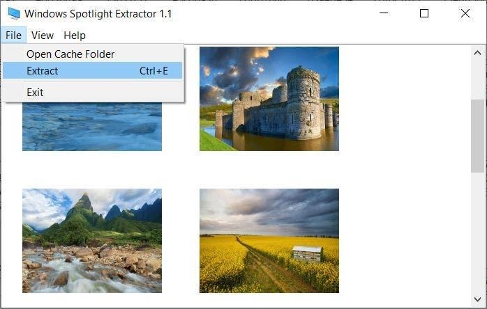 Extracto de la carpeta de Windows Spotlight