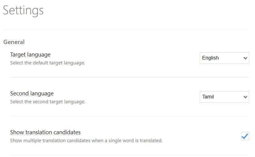 Simple Traducir la configuración