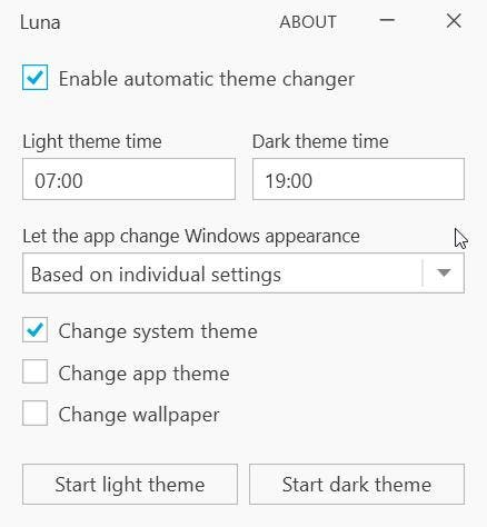 Change the Windows theme and wallpaper automatically on a schedule with Luna