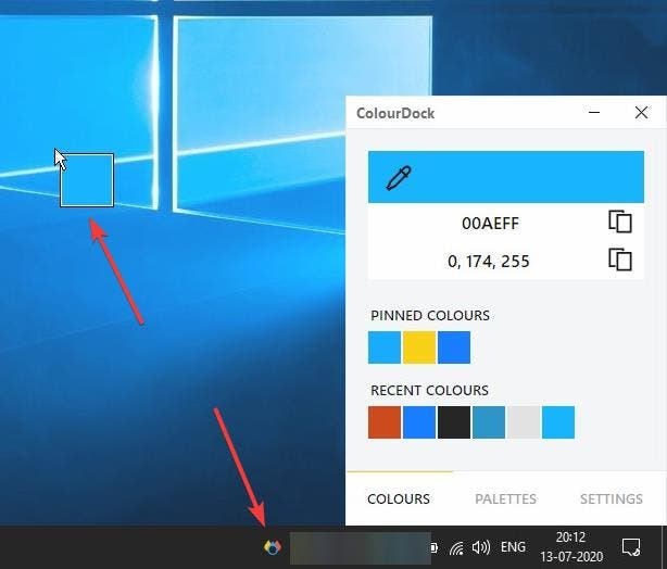 Get the Hex and RGB color codes of any shade on the screen with ColourDock