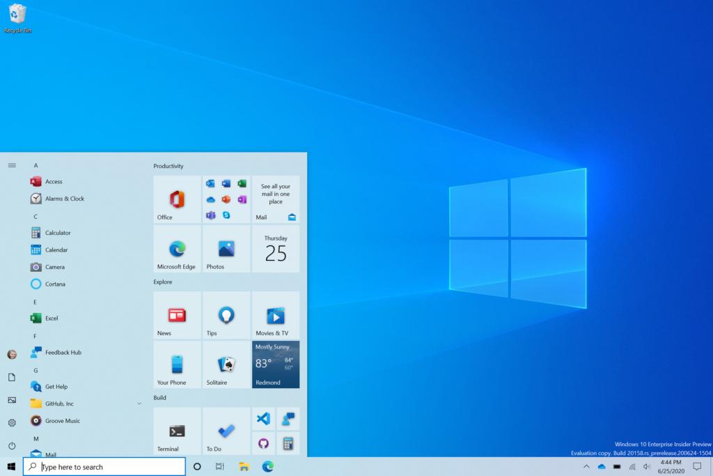 nueva luz del menú de inicio de windows 10