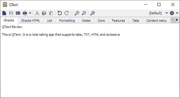 QText is a note taking program that supports tabs, TXT, HTML and autosave