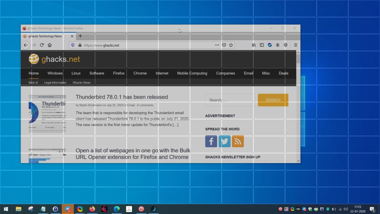 Resize and position windows quickly with ScreenGridy