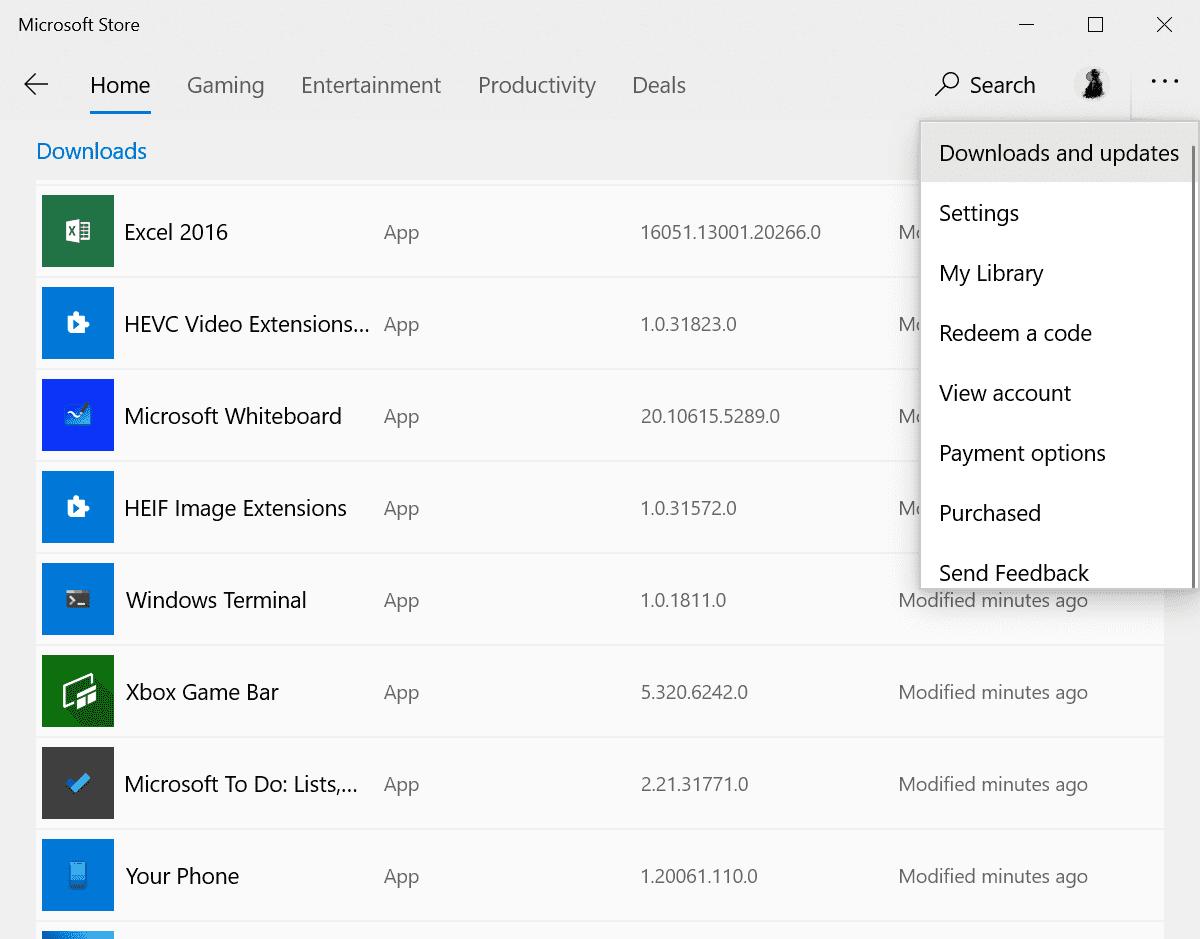 actualizaciones de descargas de microsoft store