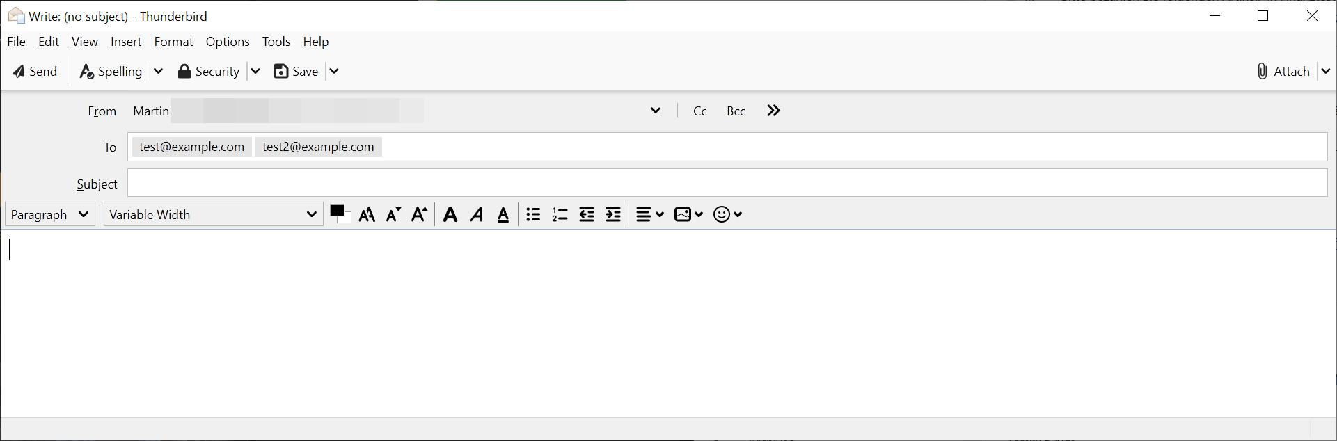 thunderbird múltiples correos electrónicos por línea