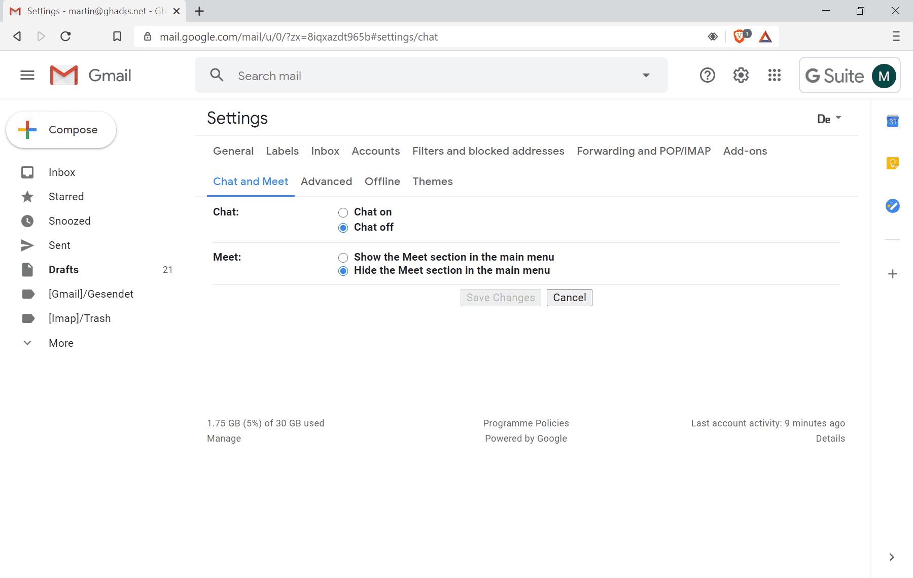 google meet apaga gmail