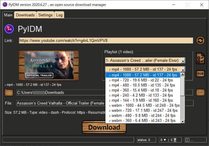 Descarga de video PyIDM