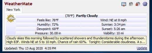 Las condiciones actuales del WeatherMate se detallan