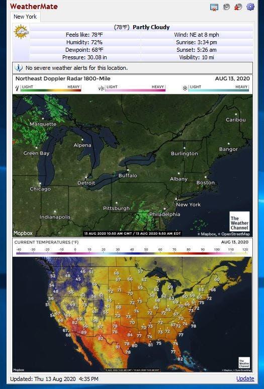 WeatherMate muestra imágenes de radar de alertas climáticas severas y el radar de los Estados Unidos