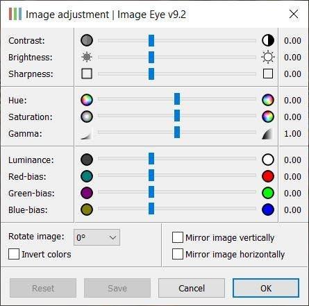 Ventana de ajuste del ojo de la imagen