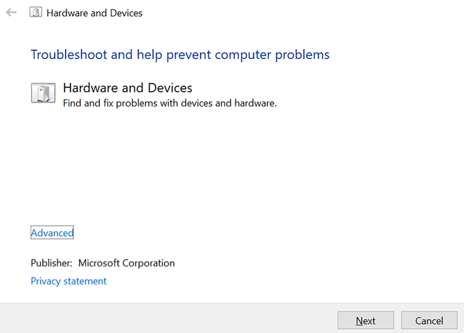 hardware y dispositivos solucionador de problemas