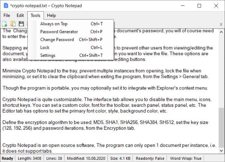 Herramientas del bloc de notas criptográfico