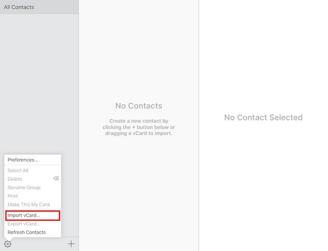 iCloud export vcard