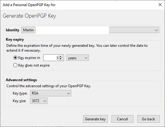 generar la clave openpgp